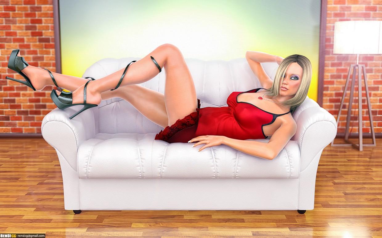 Eriah Mädchen auf der couch in 3d max vray Bild