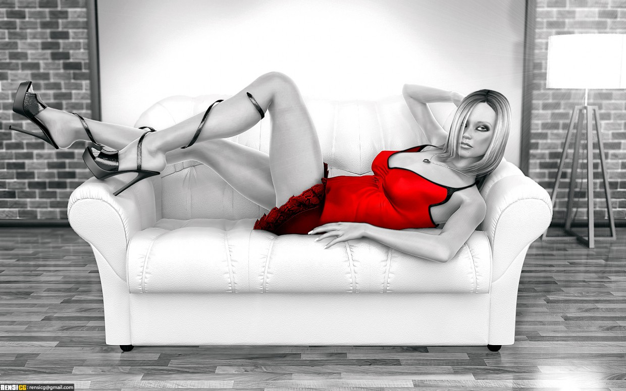 Eriah girl on the couch in 3d max vray image