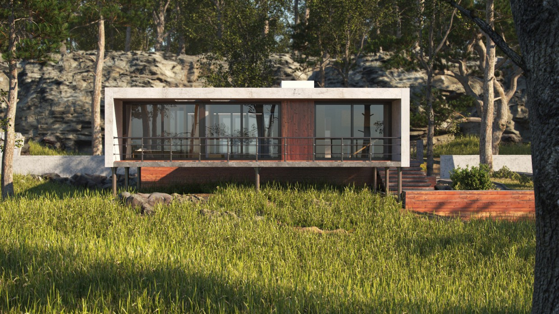 Загородный дом в 3d max corona render изображение