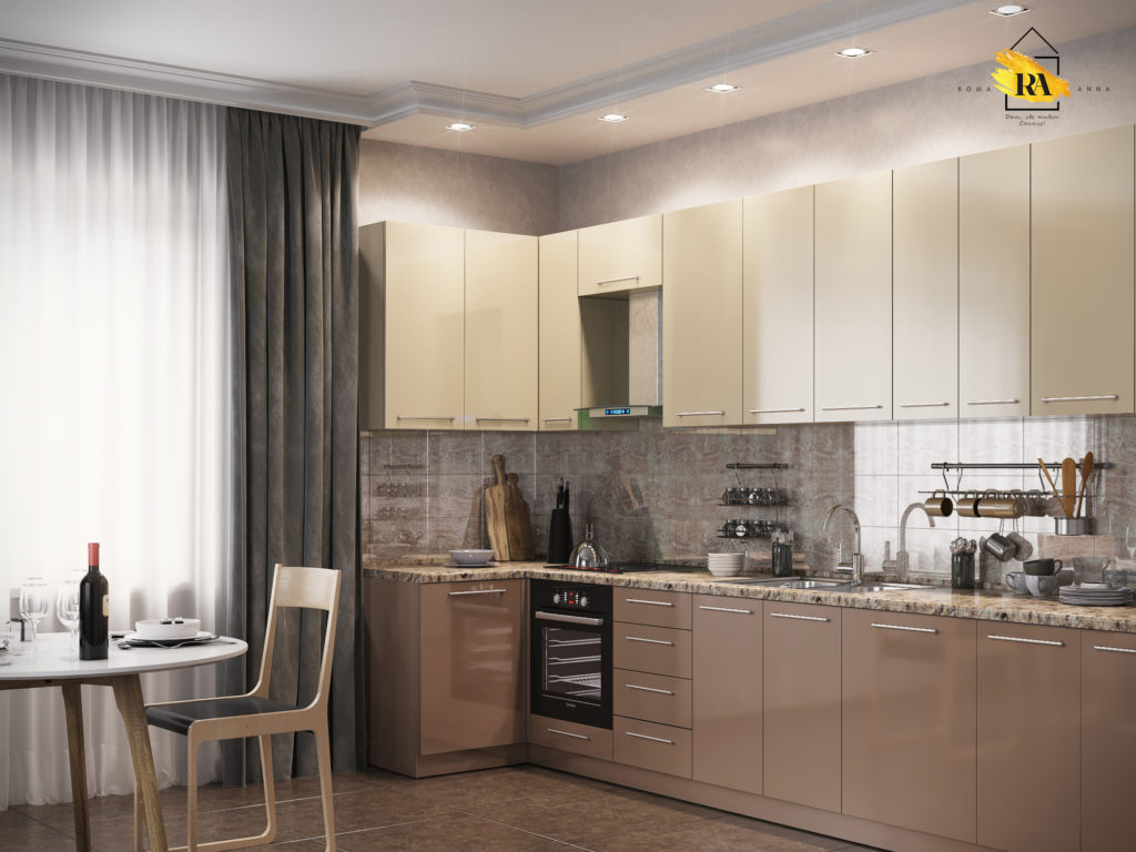 "Visualization of the kitchen unit ""Cappuccino"" in 3d max corona render image"