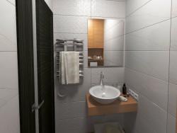 Banheiro de hóspedes no apartamento.