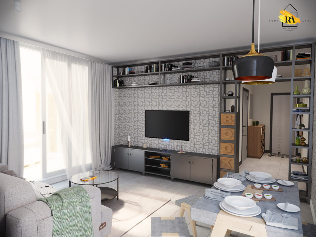 """Visualization of the """"Concrete"""" living-dining room in 3d max corona render image"""