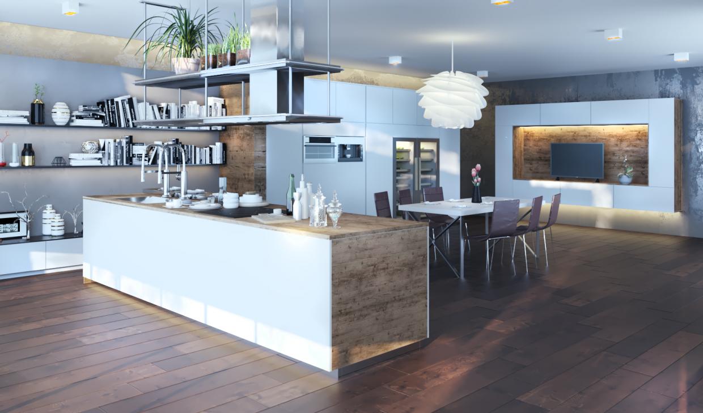 Cozinha em 3d max corona render imagem