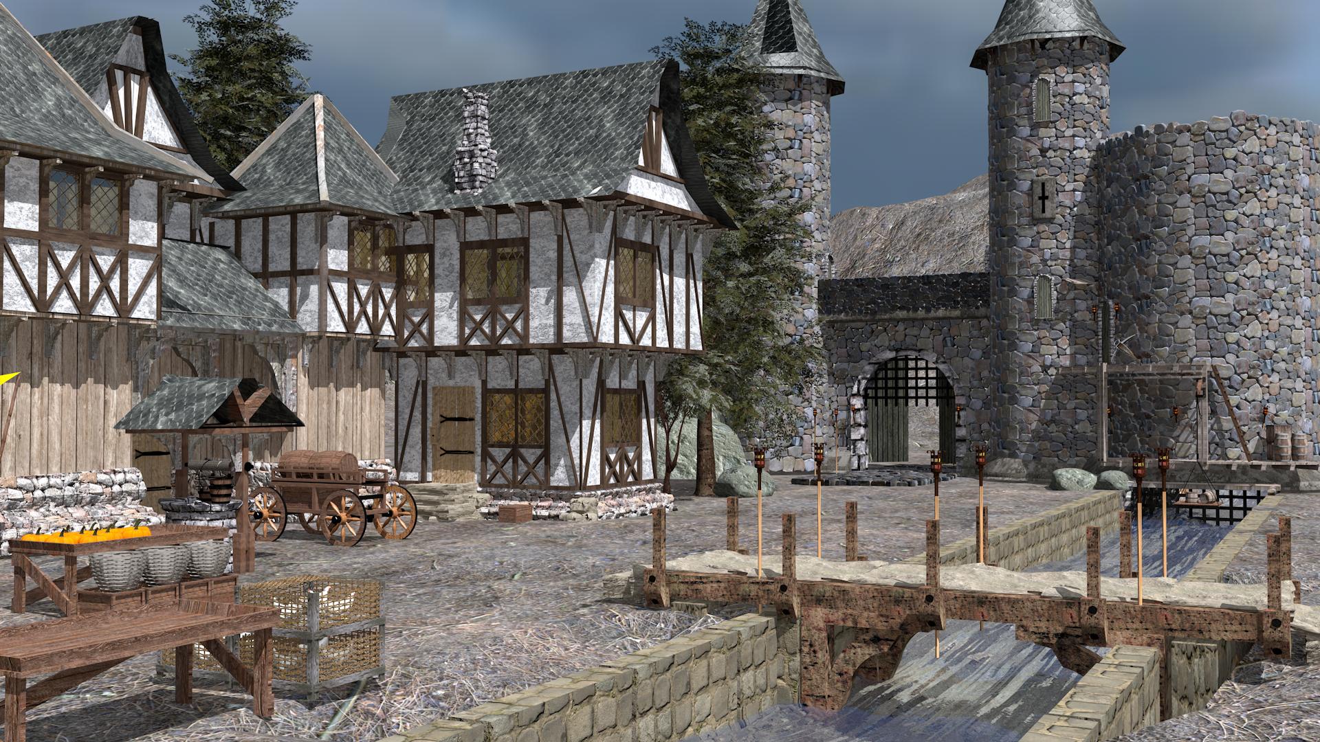 Village médiéval dans Cinema 4d maxwell render image
