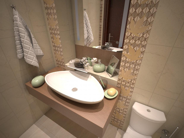 Ванной с плиткой Кленовая парча. в 3d max vray изображение