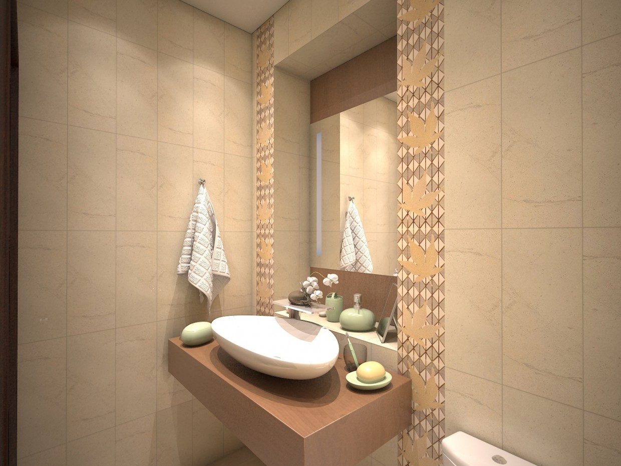 Bathroom tiles Maple brocade. in 3d max vray image