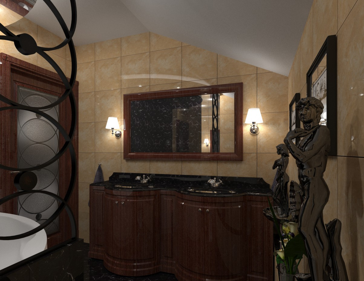 Bathroom cottage in 3d max corona render image