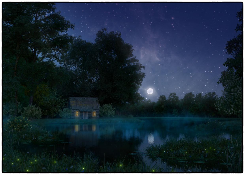 3d визуализация проекта Уснуло озеро; безмолвен лес... в 3d max, рендер corona render от Ника Светлая