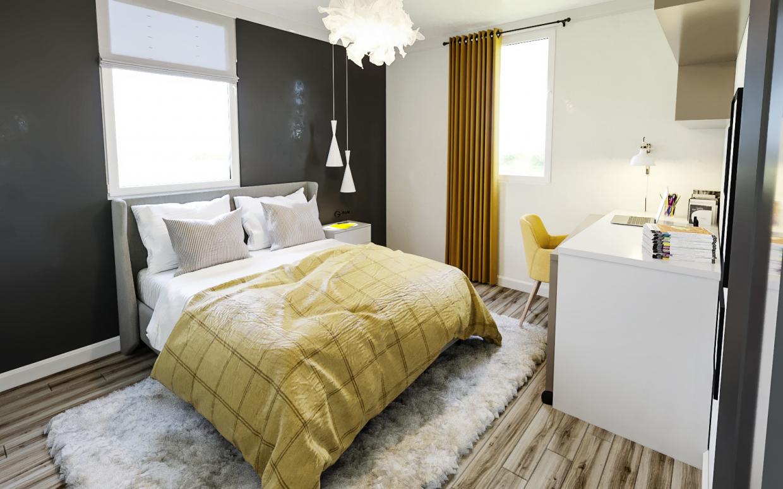 बेडरूम नंबर 1 3d max corona render में प्रस्तुत छवि