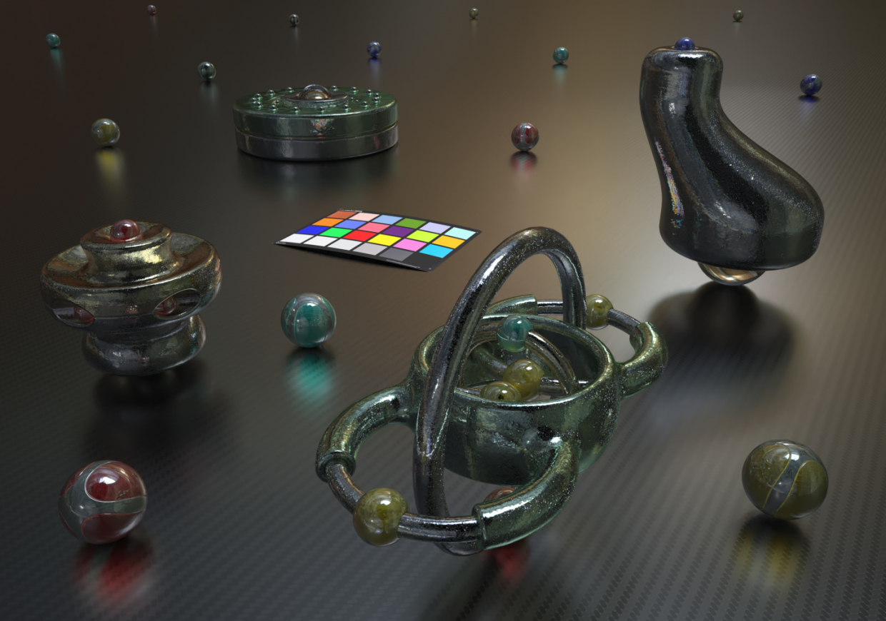 Objects ensemble in Blender maxwell render image