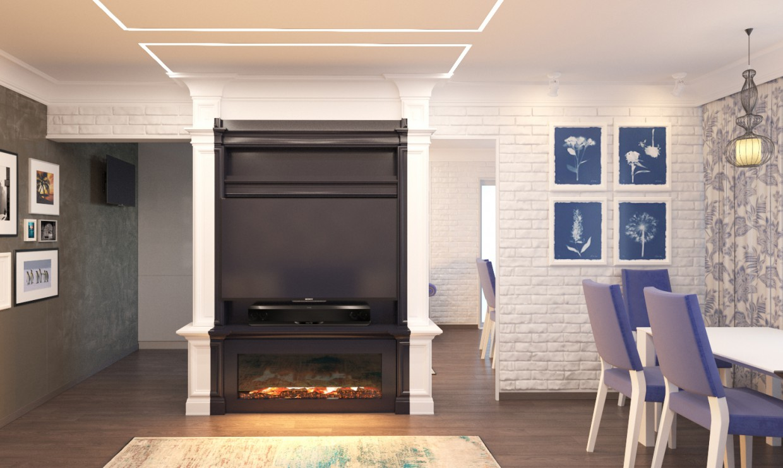 imagen de Sala de estar en 3d max corona render