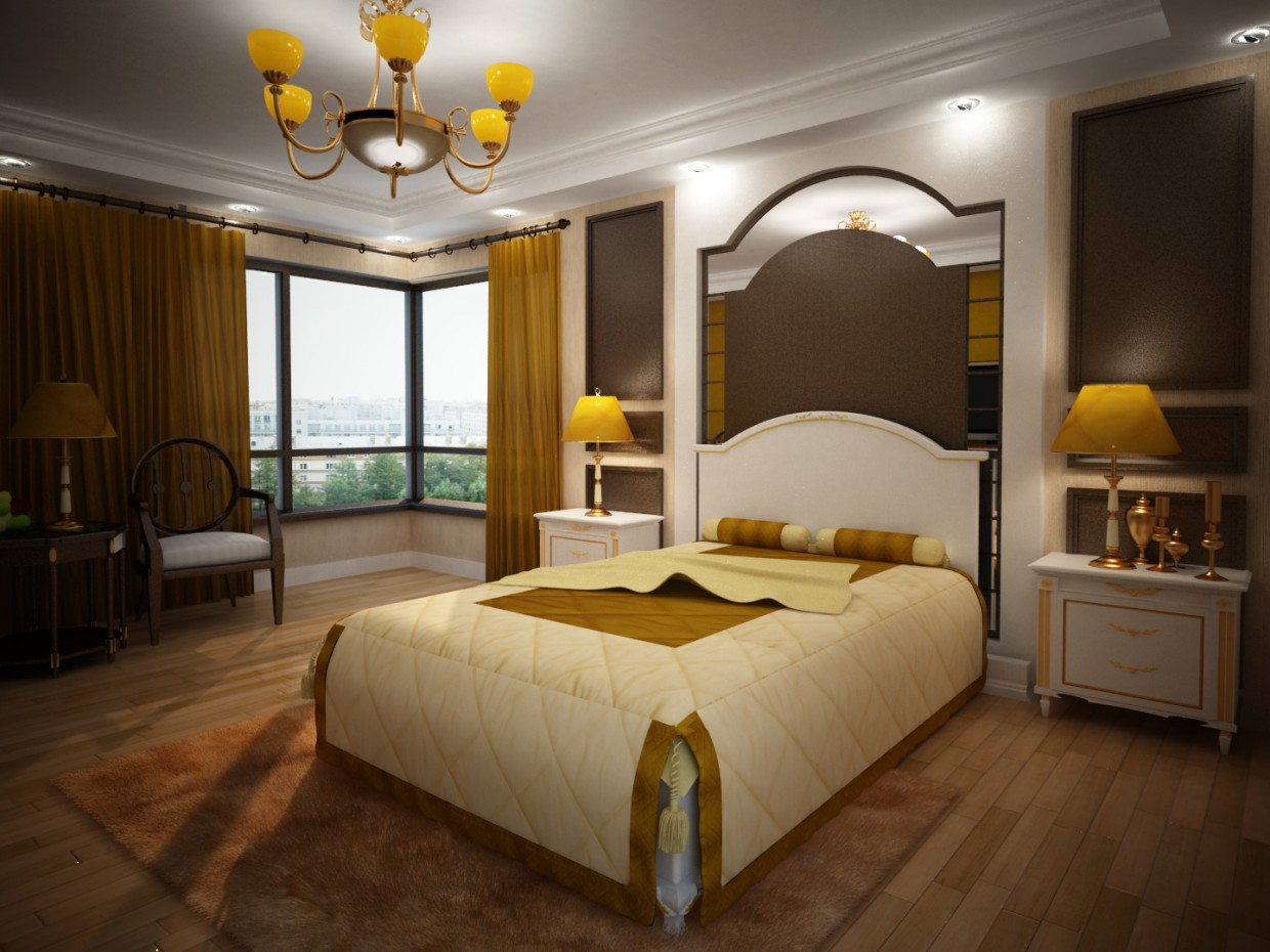 Interior design bedrooms with furniture design in 3d max vray image