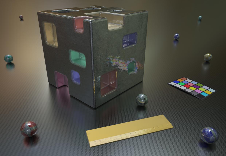 Cubo metallo in Blender Thea render image
