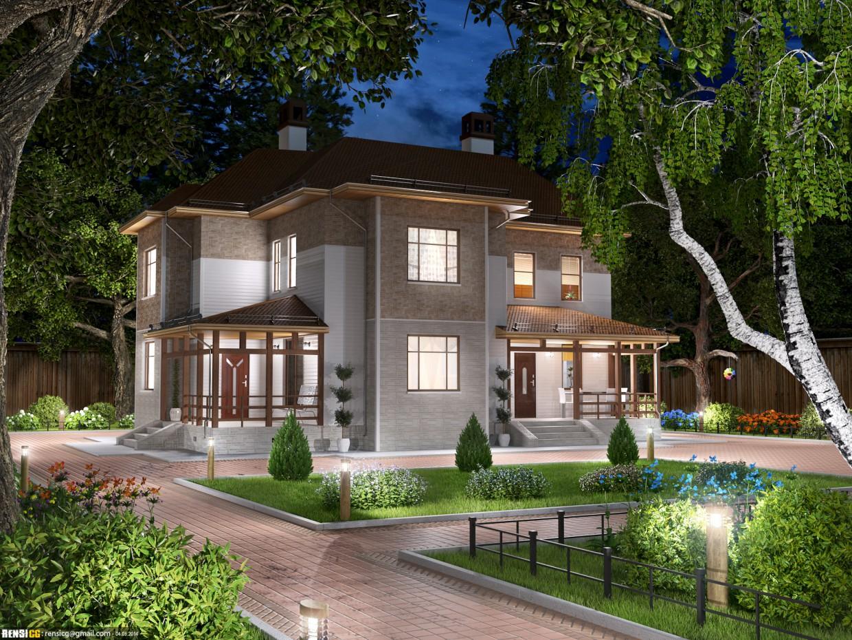 imagen de Casa rural - sala de verano, sala de otoño, visualización de noche en 3d max corona render