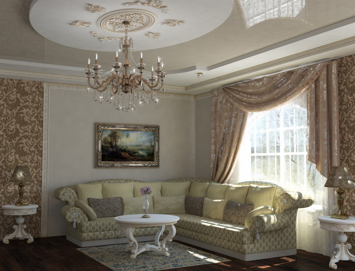 imagen de salón clásico en 3d max vray