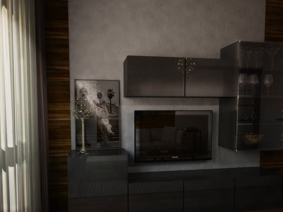 3d visualization of the project in the Living room of 17 m2 3d max, render vray of jul-eta2009