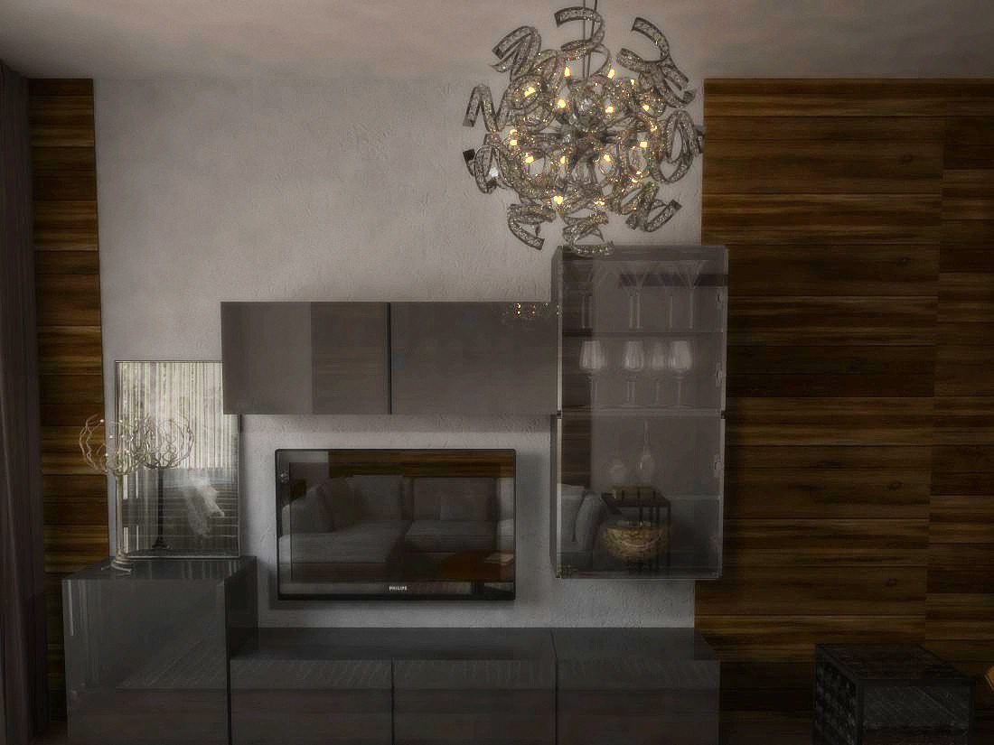 Living room of 17 m2 in 3d max vray image
