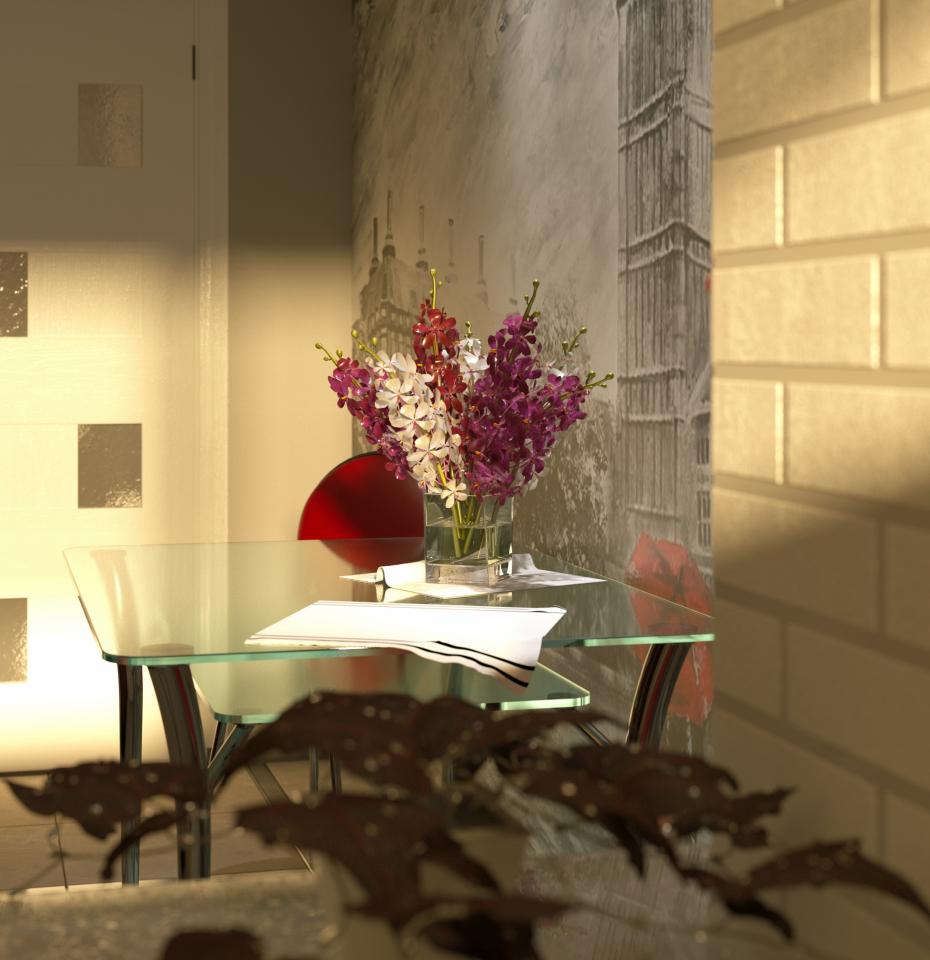 दो कमरे की रसोई 3d max corona render में प्रस्तुत छवि