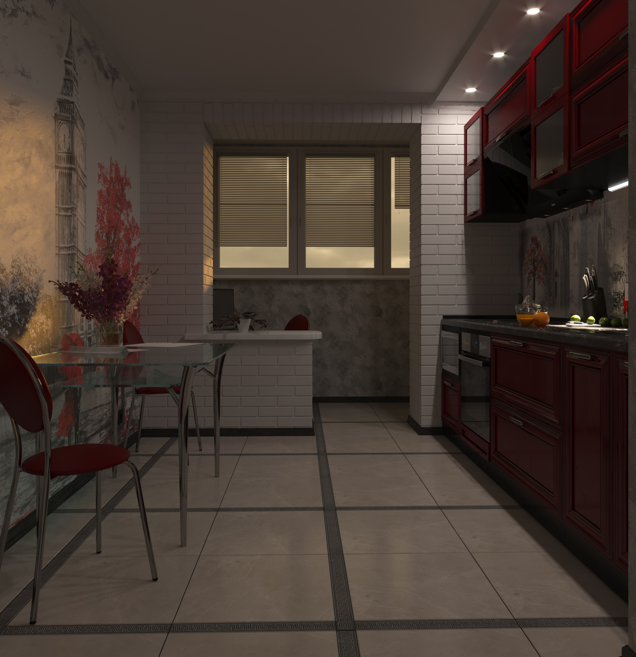 two-room kitchen in 3d max corona render image