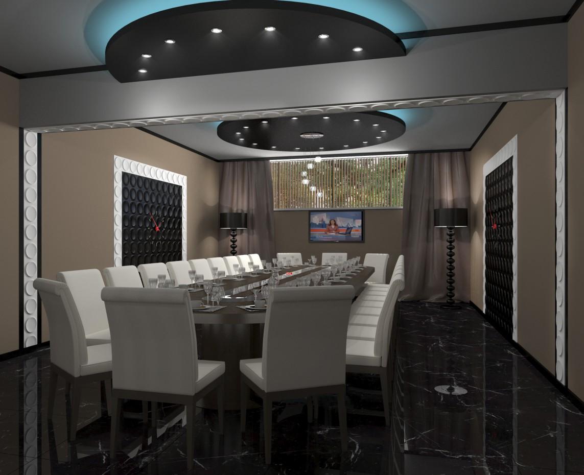 Банкетный зал в столовой Атомной станции в 3d max corona render изображение