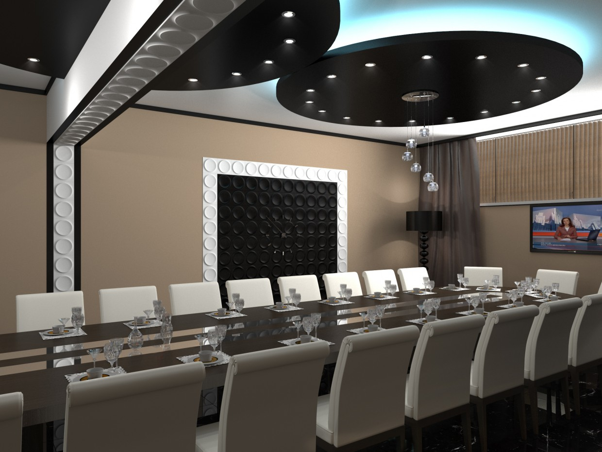 Banquet room in the dining room of a nuclear power station in 3d max corona render image