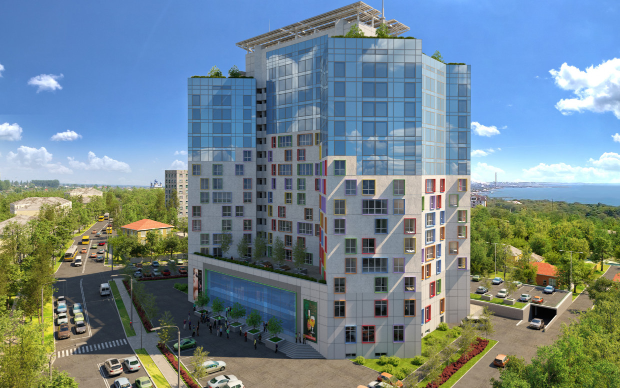 3d visualization of the project in the Residential complex (facade version) 3d max, render corona render of Alex Kluboff