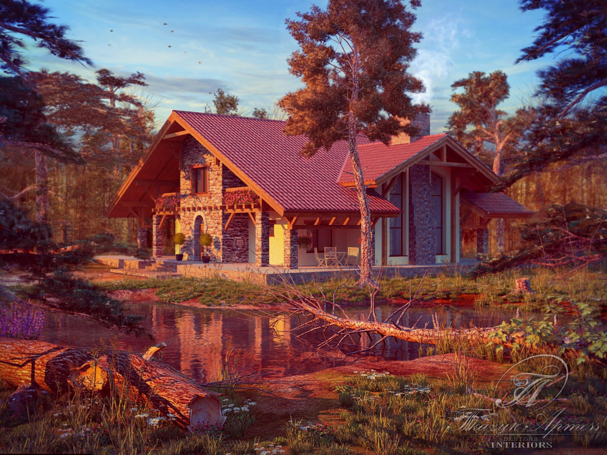 3d visualization of the project in the Sunset 3d max, render vray of art23051988