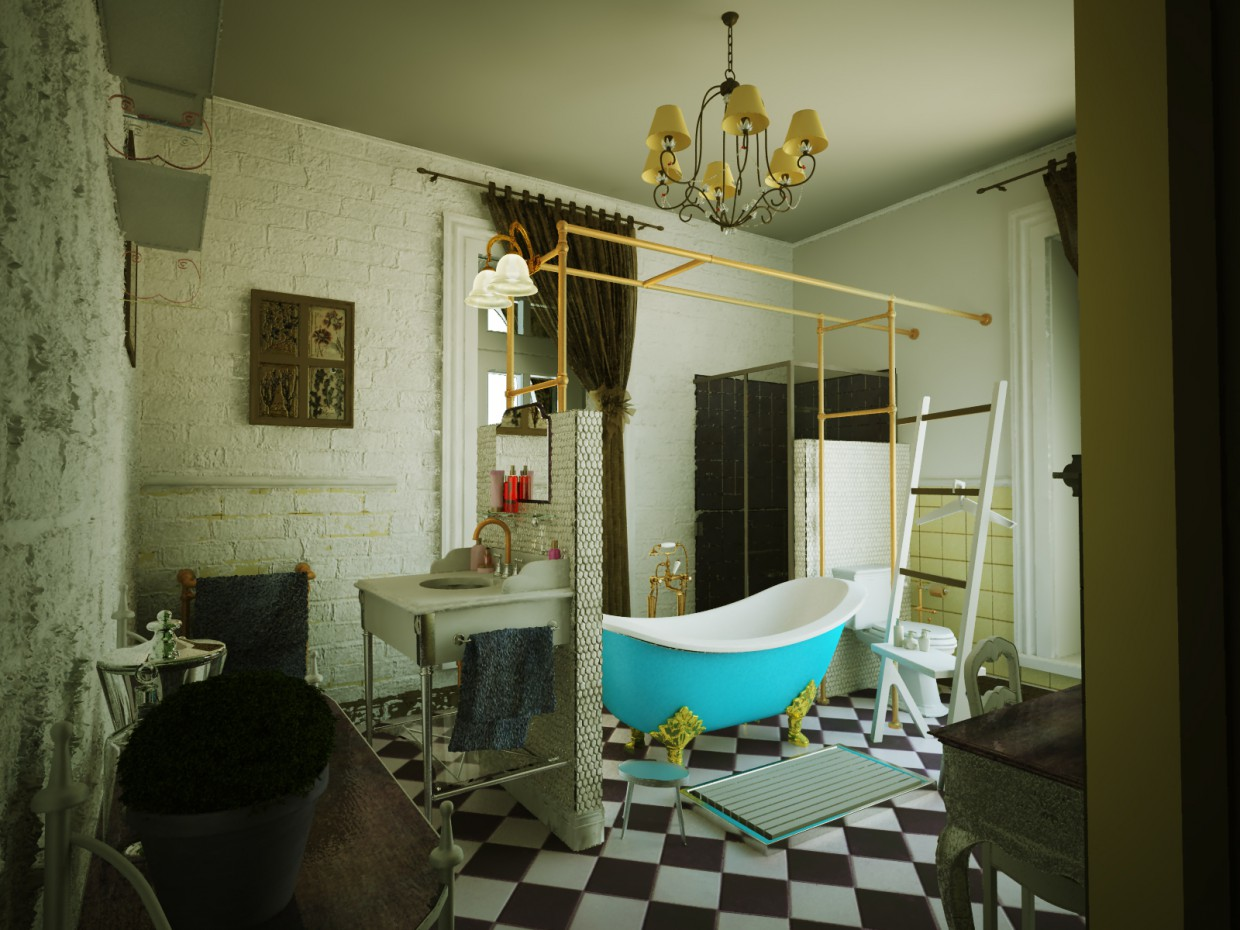 The bathroom in the style of Provence  in  3d max   vray  image