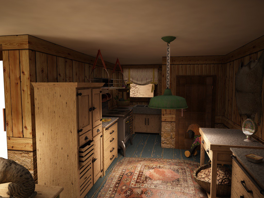 very small house in Cinema 4d vray image