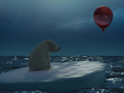 Polar bear with a red ball