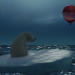 Polar bear with a red ball in 3d max vray 3.0 image