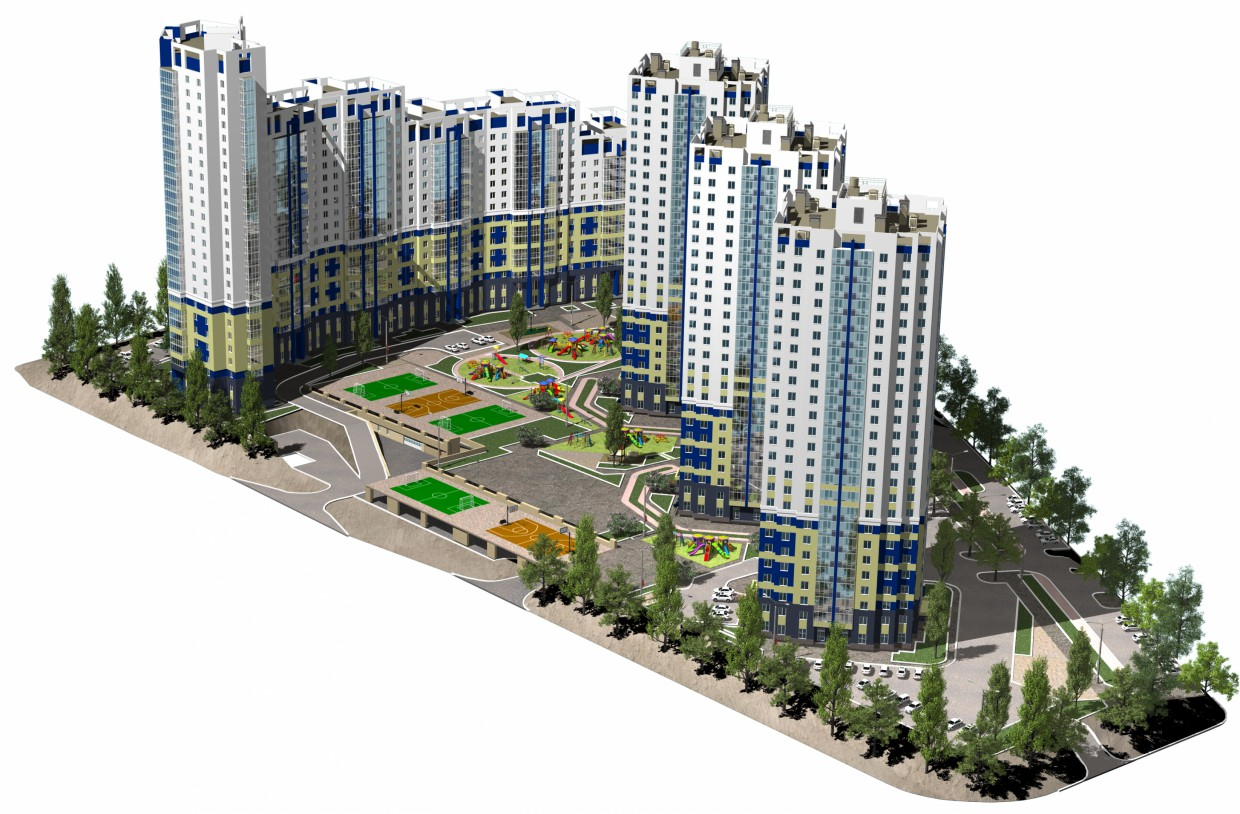 "Residential complex ""Flagman"" in 3d max corona render image"