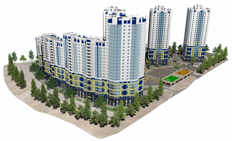 """Житловий комплекс """"Флагман"""" в 3d max corona render зображення"""