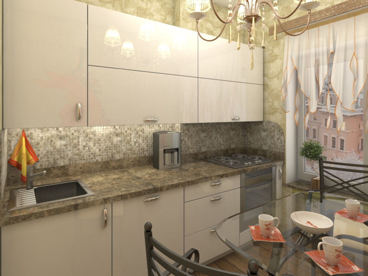 3d visualization of the project in the Kitchens of MDF in lacquer 3d max, render vray of Евгений Поздняков