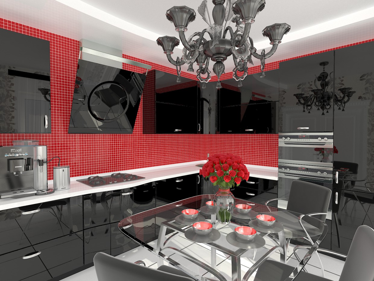 Kitchens of MDF in lacquer in 3d max vray image