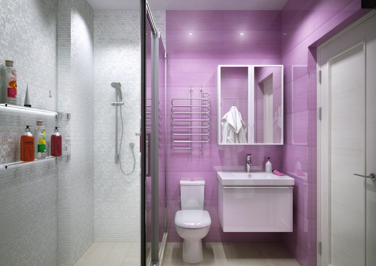 A bathroom in a modern style in 3d max vray image
