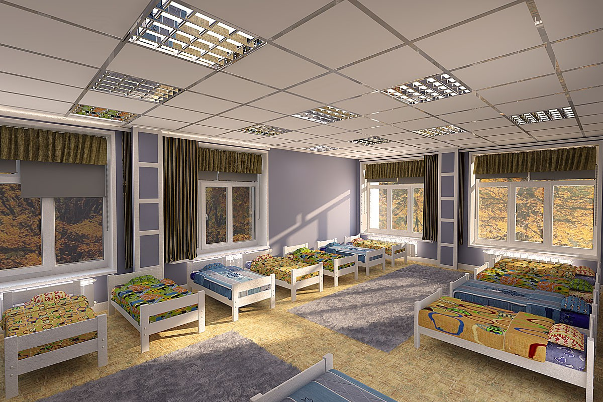 3d visualization of the project in the kindergarten's big bedroom 3d max, render vray of tascha