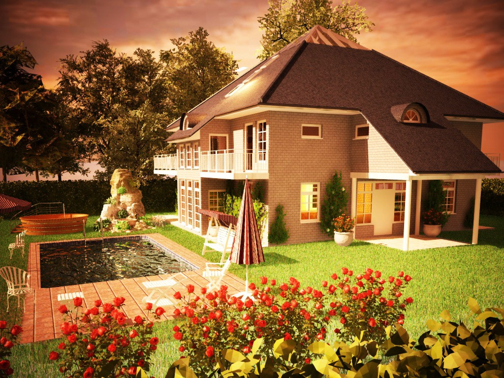 House with attic-greenhouse in Cinema 4d vray image