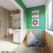 Children's room in the style of LEGO in 3d max corona render image