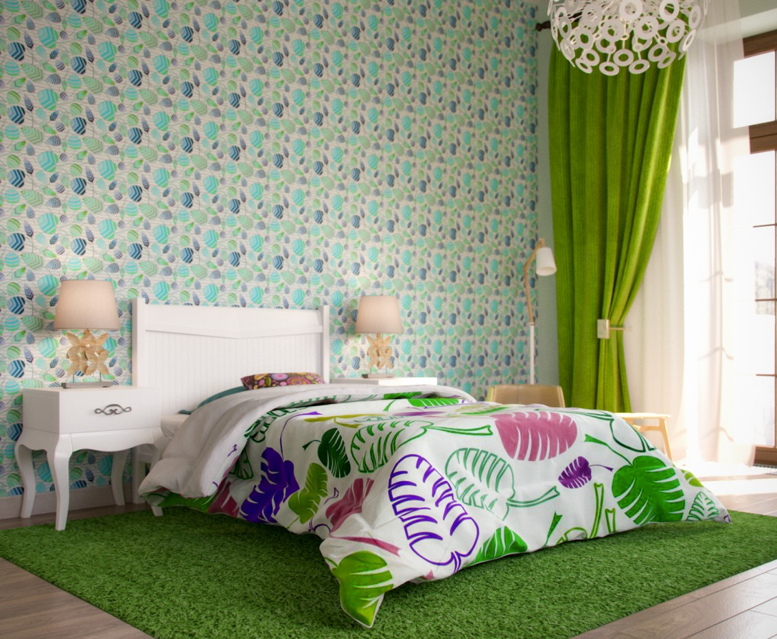 Гостинная + немного спальни + комната девочки в 3d max corona render изображение
