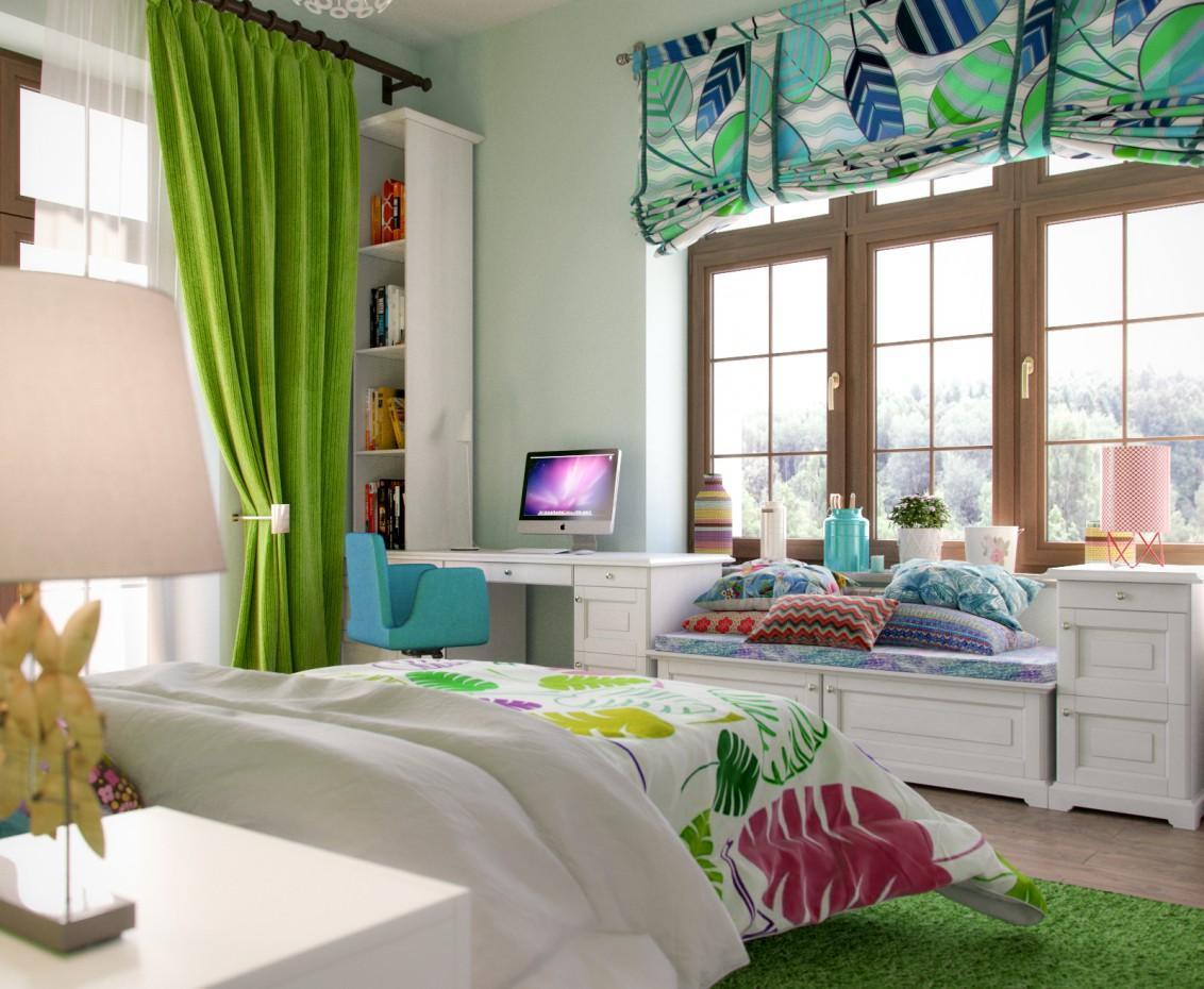 imagen de Salón + dormitorio infantil para una niña en 3d max corona render