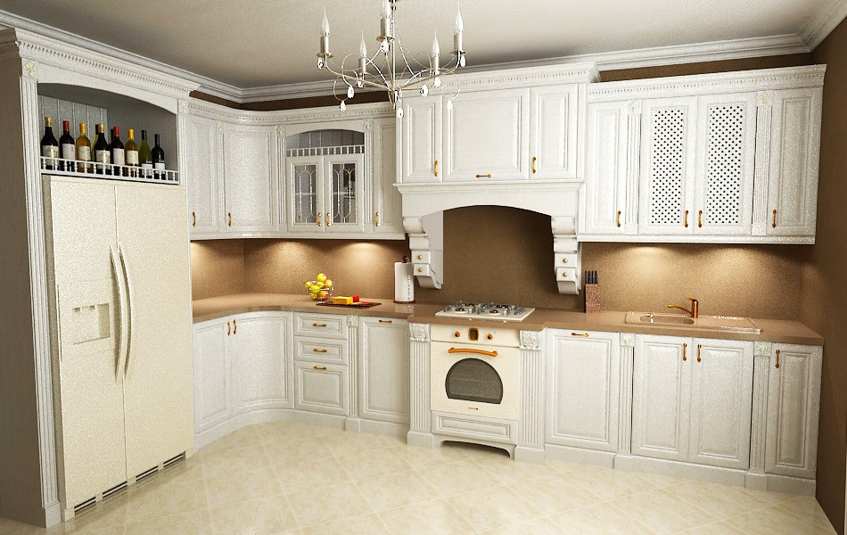corner kitchen in 3d max vray image