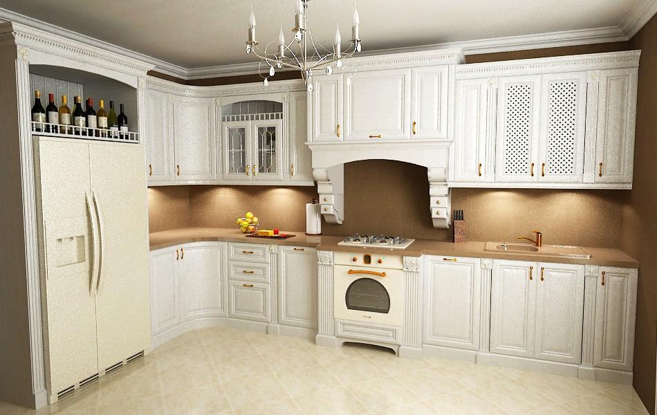 Угловая кухня в 3d max vray изображение