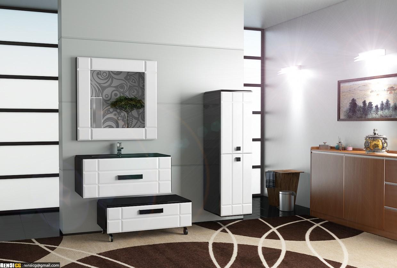 3d визуализация проекта Набор мебели для ванной комнаты 2 Deko в 3d max, рендер vray от RensiCG