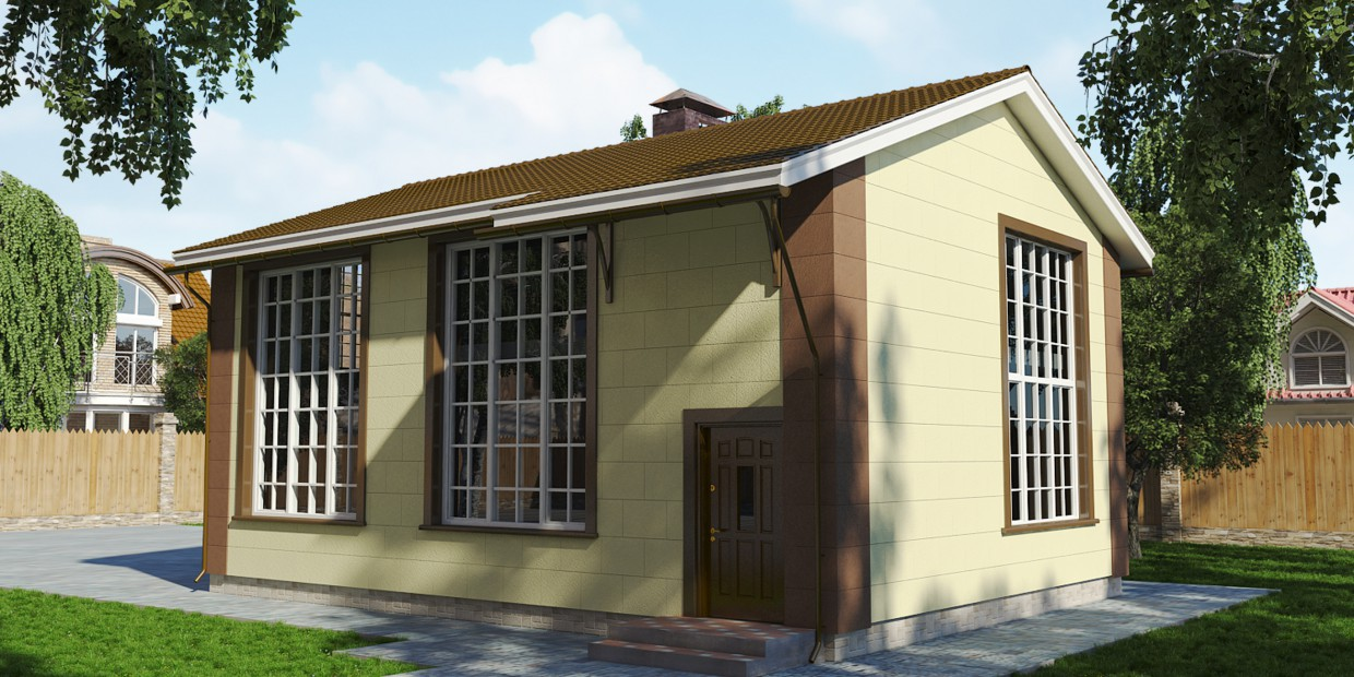 Draft project of the reconstruction of the country house in 3d max vray image