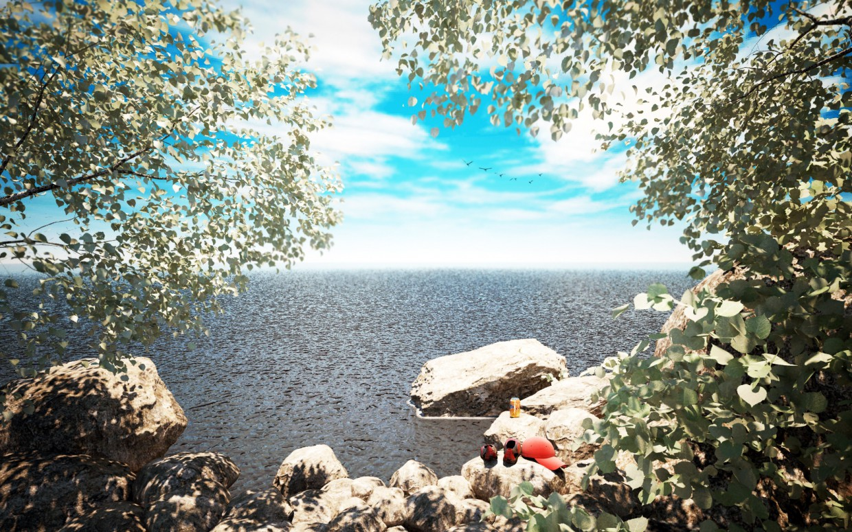 The seashore, summer! in 3d max vray image