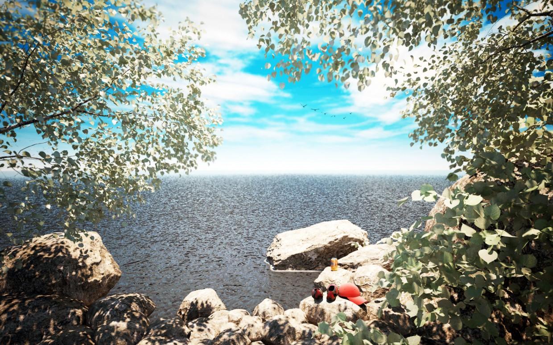 Берег моря, лето! в 3d max vray изображение