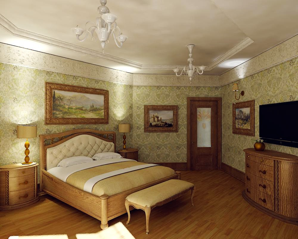 3d visualization of the project in the bedroom classic 3d max, render vray of Ли Стюша