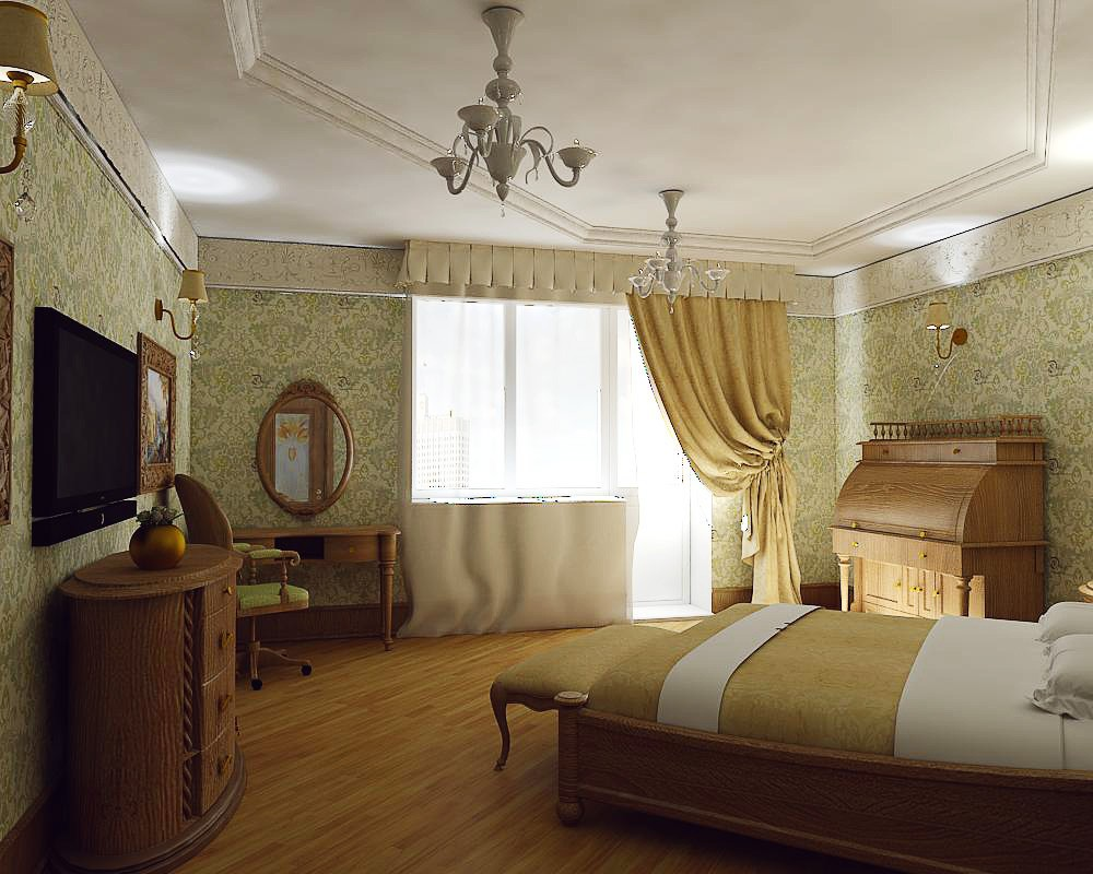 Bedroom classic in 3d max vray image