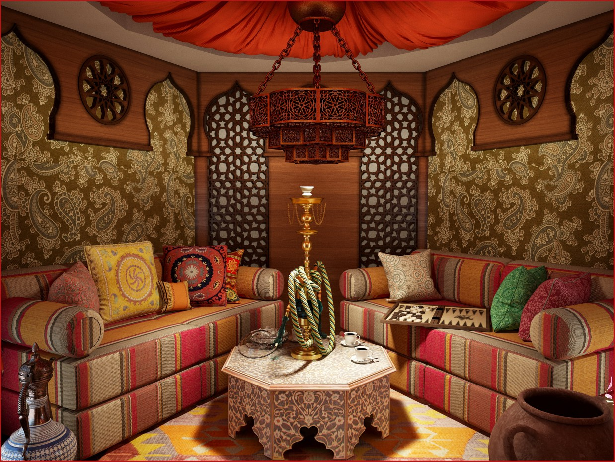 Ethnic-styled room in 3d max vray image